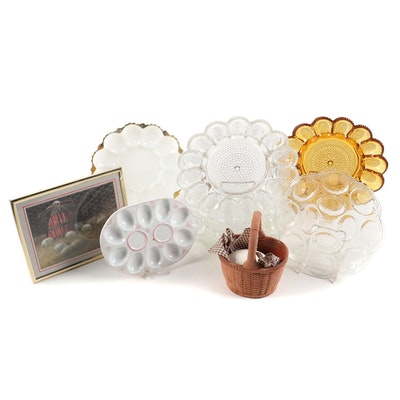 Indiana Glass and Other Glass and Ceramic Deviled Egg Plates with Other Decor