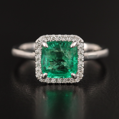 14K 1.52 CT Emerald and Diamond Halo Ring with GIA Report