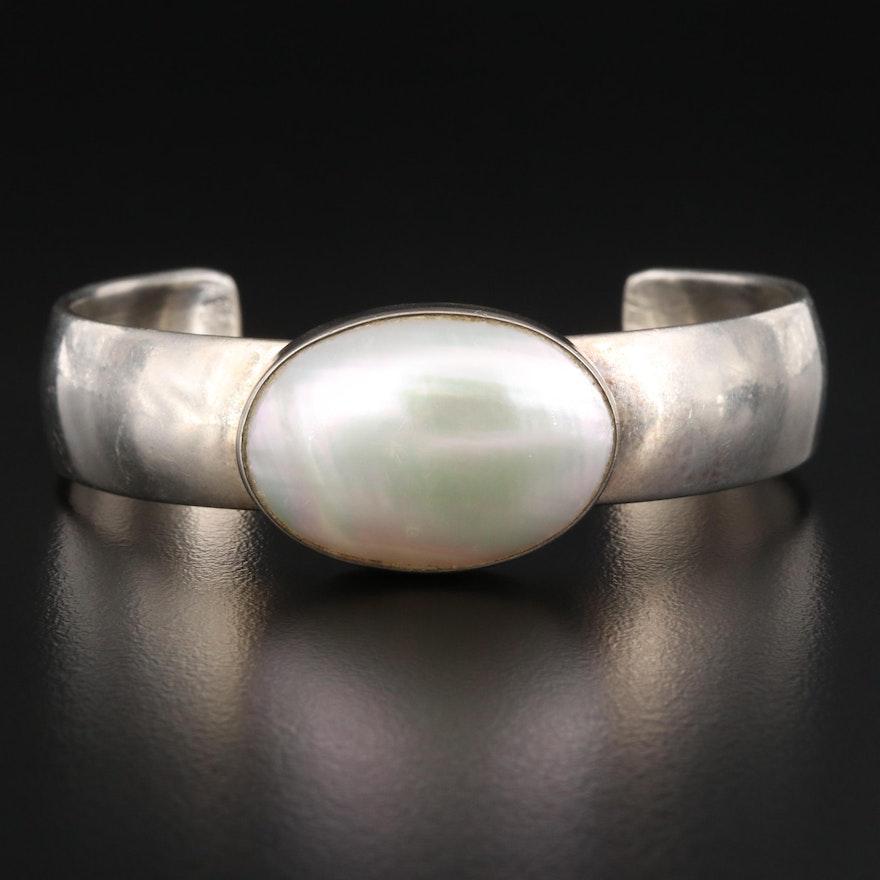 Paul Livingston Navajo Diné Sterling Silver Pearl Cuff