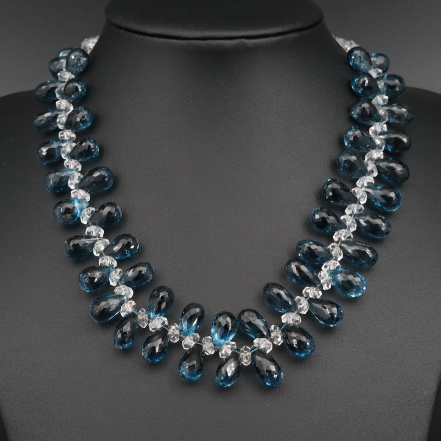 Topaz Beaded Necklace with 14K Clasp