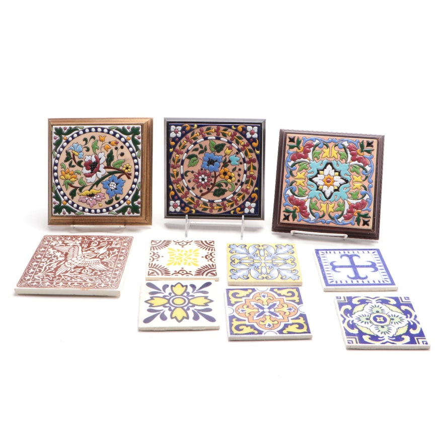Orion and Ideal Standard Pottery Wall Tiles, Floral, Fowl, and Geometric Designs