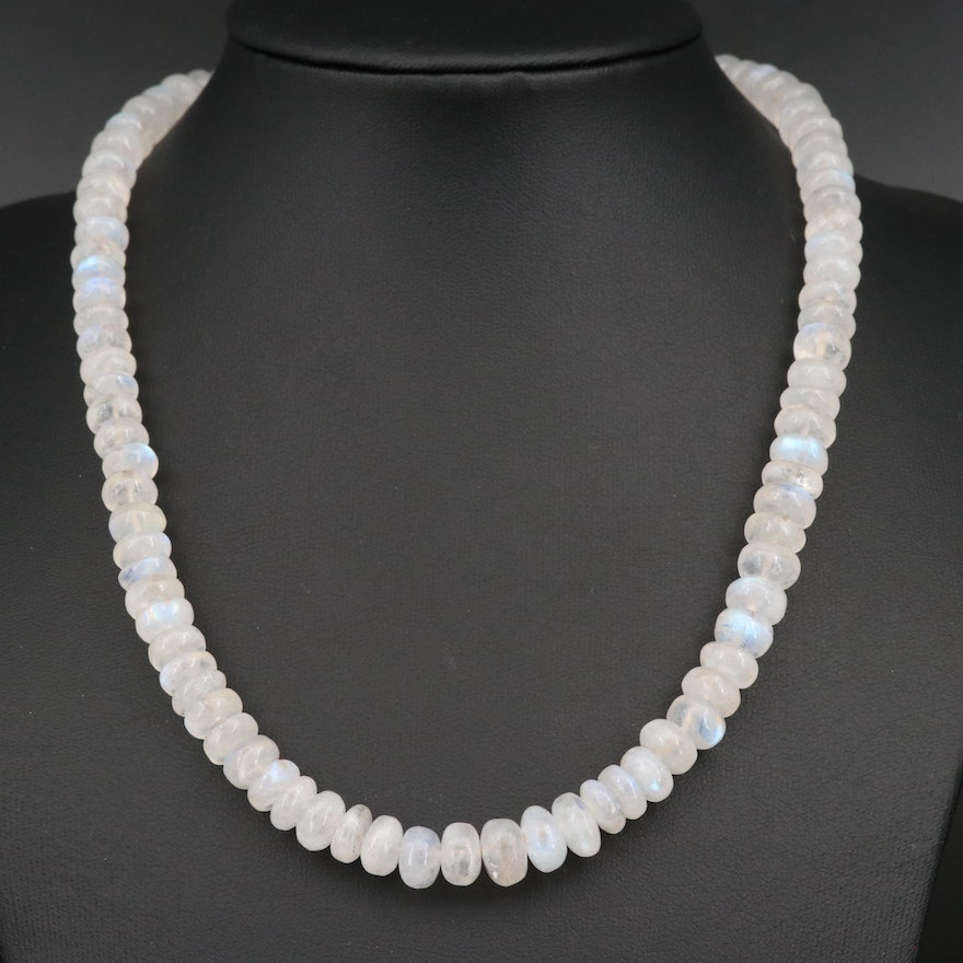 Rainbow Moonstone Beaded Necklace with 14K Clasp