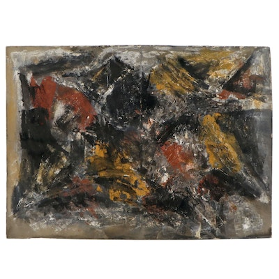 Allen Kubach Abstract Mixed Media Painting, Late 20th century