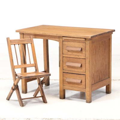 Arts & Crafts Child's Oak Desk and Folding Chair, Early to Mid-20th Century