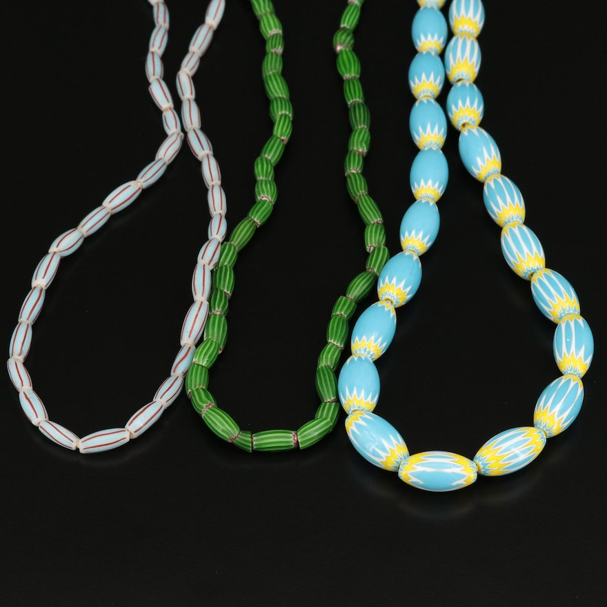 Trade Bead Necklaces Including Bohemian and Venetian Chevron