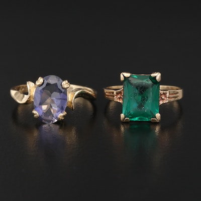 10K Rings Featuring Iolite and Green Glass