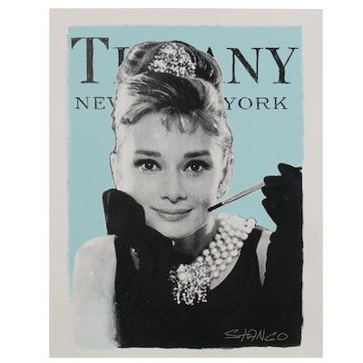 "John Stango Pop Art Embellished Serigraph ""Turquoise Audrey"""