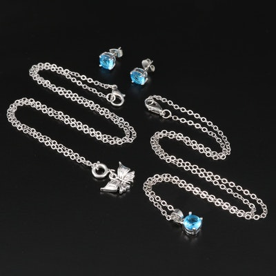 Sterling Stud Earrings and Pendant Necklaces Featuring Blue Glass Accents