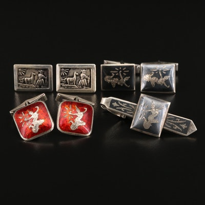 Thai and Peruvian Themed Sterling Cufflinks with Tie Clip and Niello