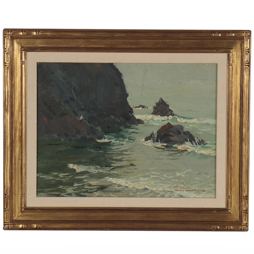 "Edmond J. Fitzgerald Oil Painting ""Arch Cape, Oregon Coast"""