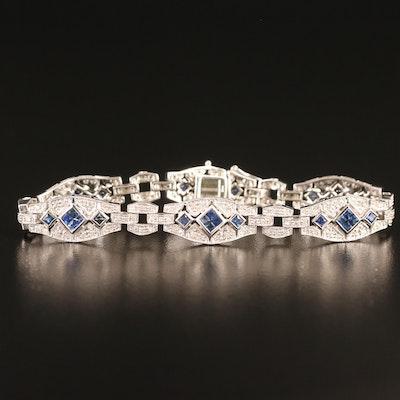 14K Sapphire and Diamond Link Bracelet