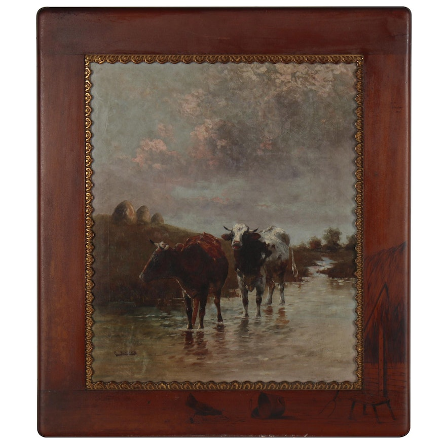 Pastoral Oil Painting with Cows, Late 19th to Early 20th Century