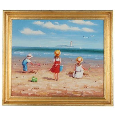 Genre Beach Scene Oil Painting