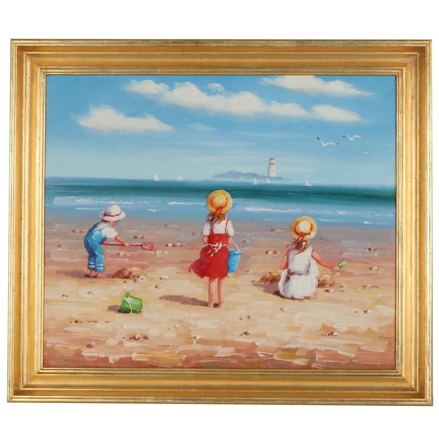 Genre Beach Scene Oil Painting
