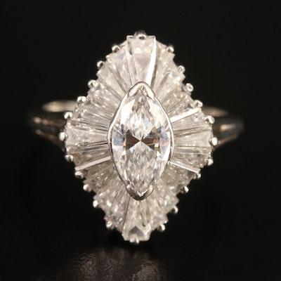 Platinum 2.35 CTW Diamond Ballerina Ring