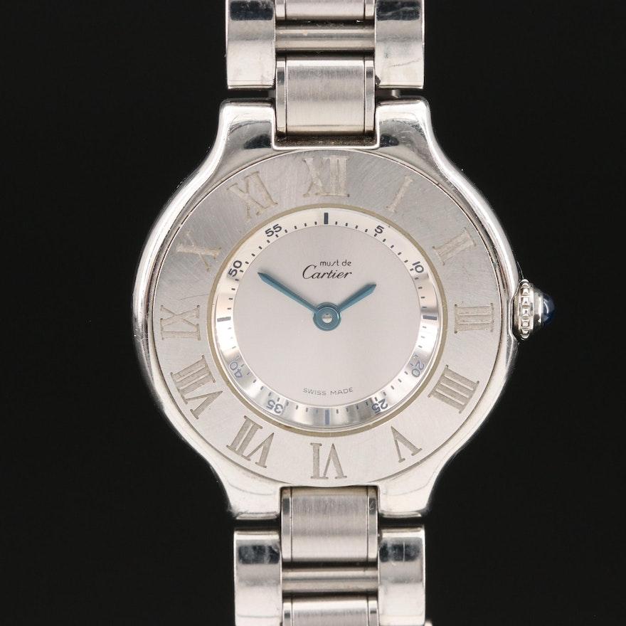 """Must de Cartier """"21"""" Full Steel Style Wristwatch"""