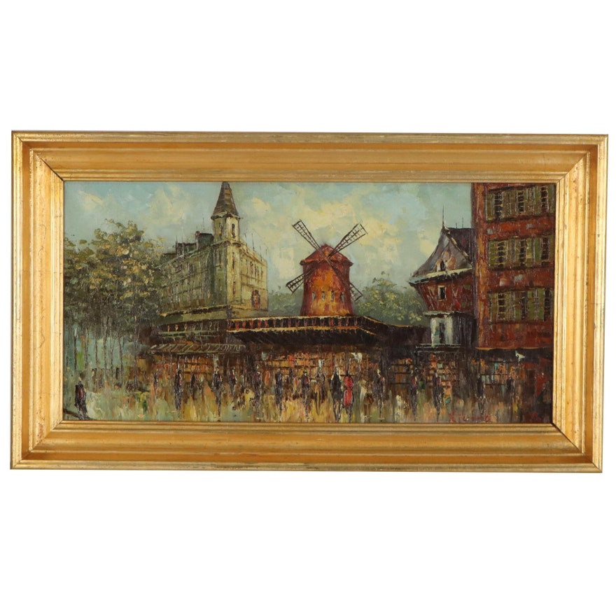 Paris Street Scene Oil Painting of the Moulin Rouge, Late 20th Century