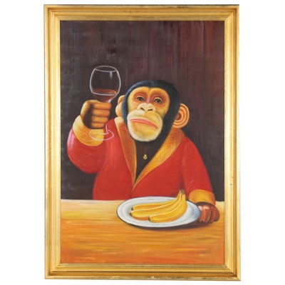 Chimpanzee with Glass of Wine Oil Painting over Giclée