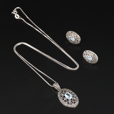 Sterling Silver Necklace and Earring Set Featuring Topaz and Marcasite