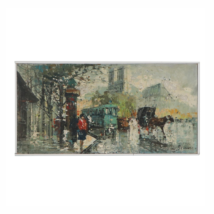 Paris Street Scene Oil Painting, Late 20th Century