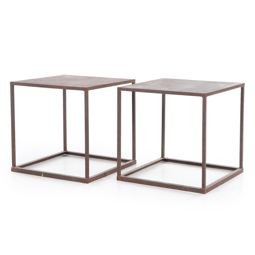 Pair of Industrial Style Patinated Steel Cube-Form Side Tables