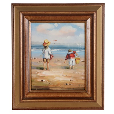 Beach Scene Oil Painting, circa 2000