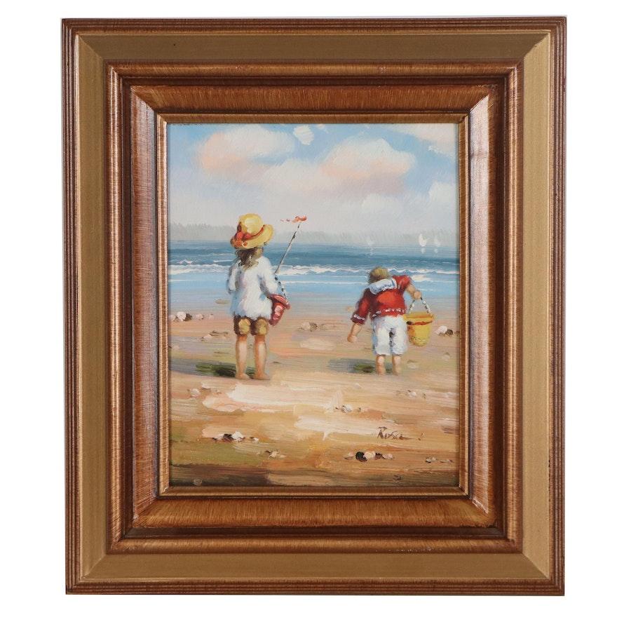 Beach Scene Oil Painting, circa 2000