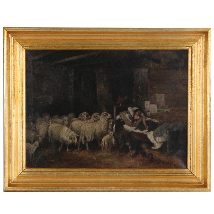 """Oil Painting after Otto Gebler """"Der Siebenschläfer,"""" Late 19th Century"""