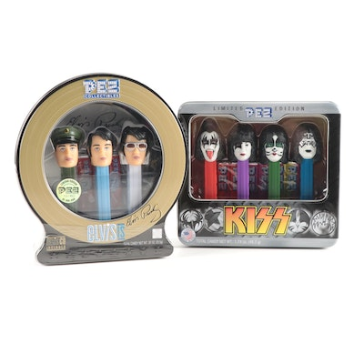 """PEZ """"Elvis Presley"""" and """"Kiss"""" Musical Candy Dispensers in Original Packaging"""