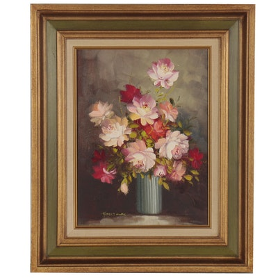 Robert Cox Floral Still Life Oil Painting, Mid-20th Century