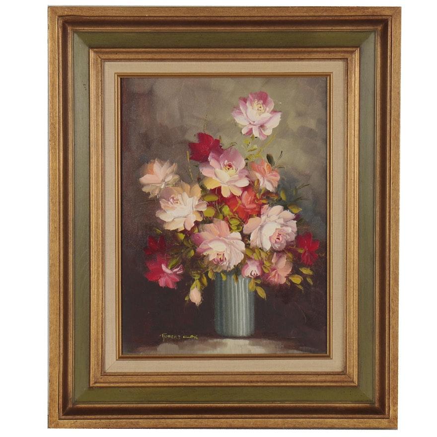 Robert Cox Floral Still Life Oil Painting, Mid-20th Century