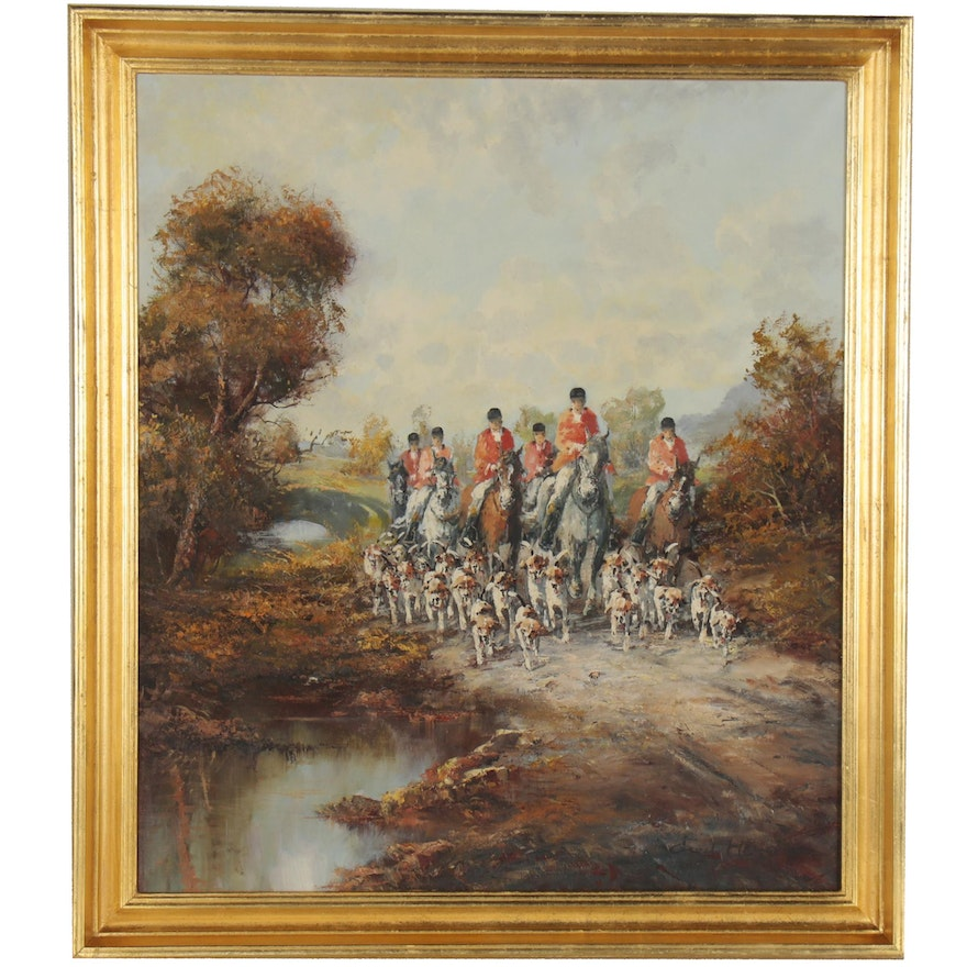 English Hunt Scene Oil Painting, Late 20th Century
