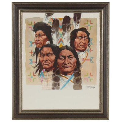 "Tom McNeely Watercolor Painting ""Great Leaders of the Plains Indians"""