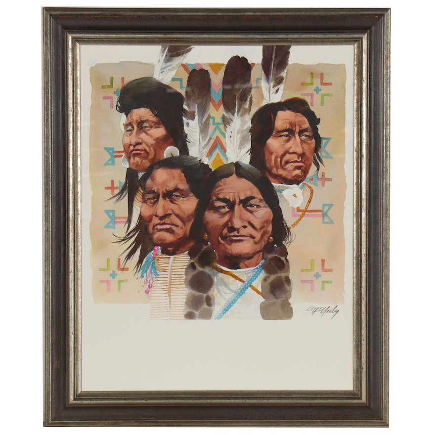 """Tom McNeely Watercolor Painting """"Great Leaders of the Plains Indians"""""""