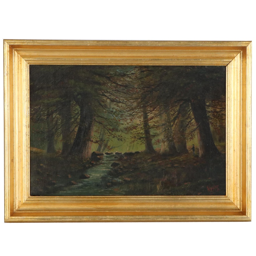 Forest Landscape Oil Painting, Early to Mid 20th Century