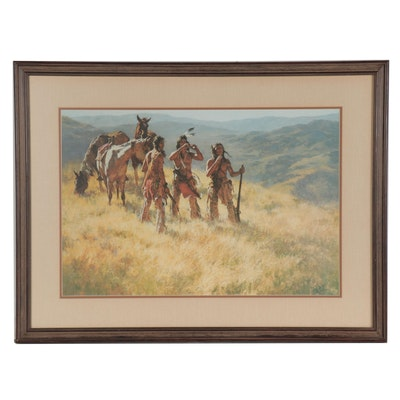 "Howard Terpning Offset Lithograph ""Dust of Many Pony Soldiers"""
