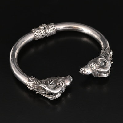 Sterling Silver Ram's Head Hinged Cuff