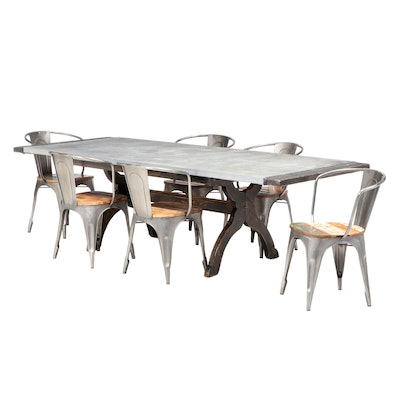 Williams Furniture Industrial Style Metal Top Trestle Table Dining Set