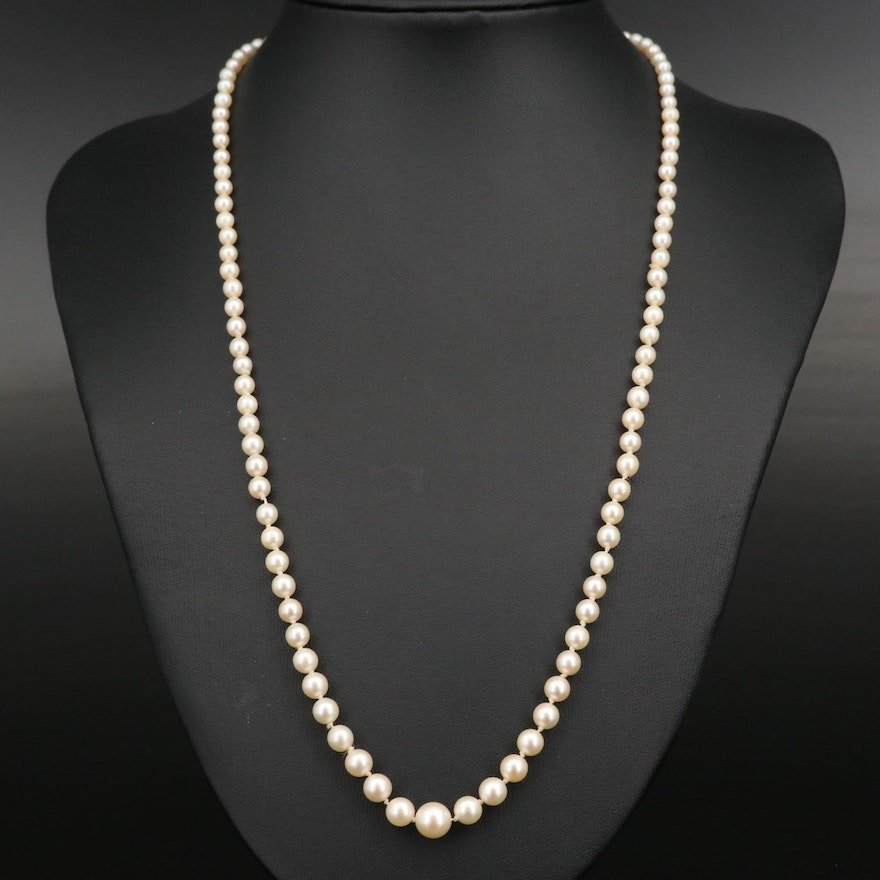 Mikimoto Graduated Pearl Necklace with Sterling Clasp