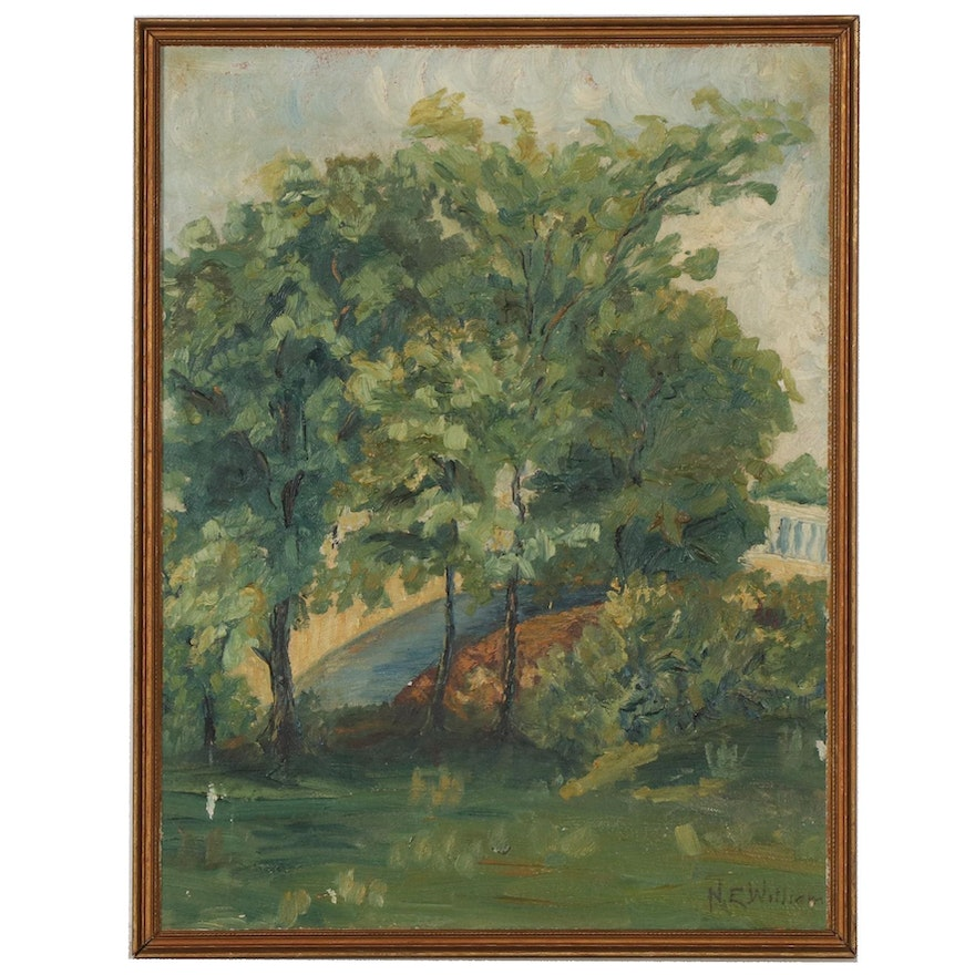 Landscape with Trees Oil Painting, Mid to Late 20th Century