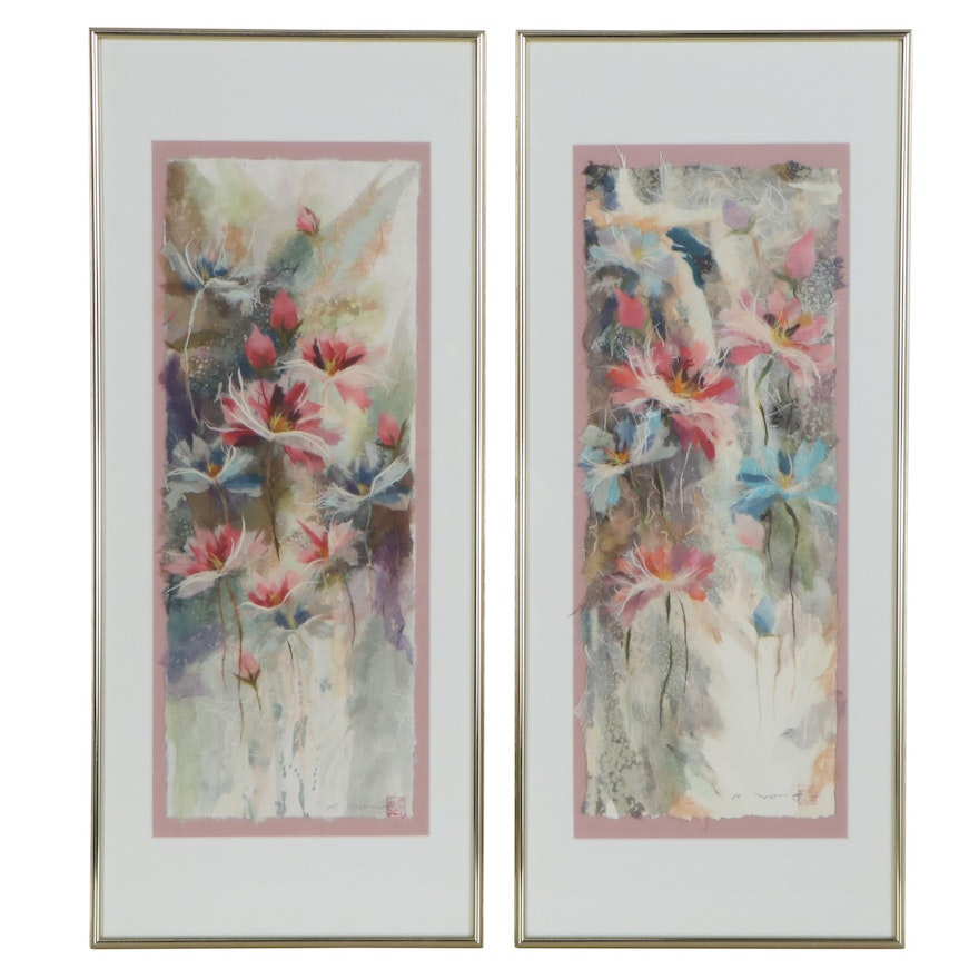 Floral Abstract Japon Paper Assemblage Compositions, 21st Century