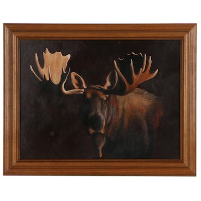 "Joe Low Acrylic Painting ""Bull Moose"" Designed for Bass Pro Shops"