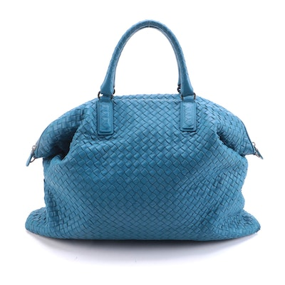 Bottega Veneta Maxi Convertible Tote in Blue Intrecciato Nappa Leather