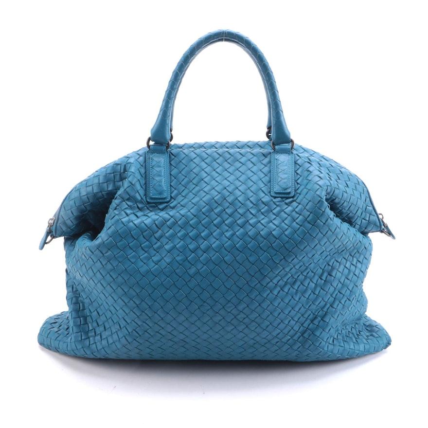 Bottega Veneta Maxi Convertible Tote in Blue Intrecciato Nappa Leather