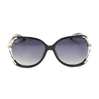 Chanel 8039 CC Bamboo Sunglasses in Black
