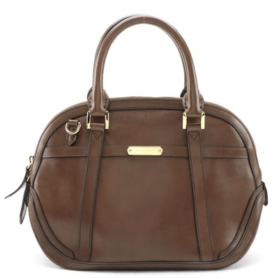 Burberry Orchard Bowler Bag in Brown Smooth Leather and Nova Check Canvas Lining