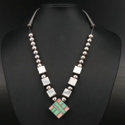 Ray Tracey Navajo Diné and Knifewing Segura Apache Inlay Necklace