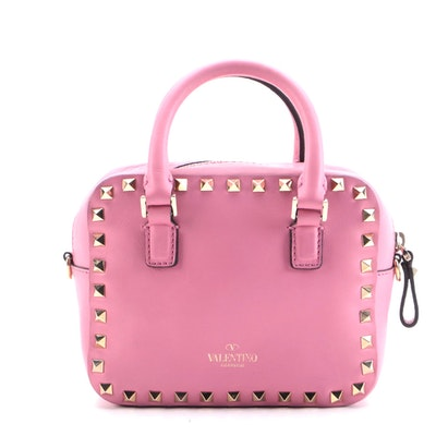 Valentino Garavani Rockstud Mini Two-Way Crossbody in Pink Smooth Leather