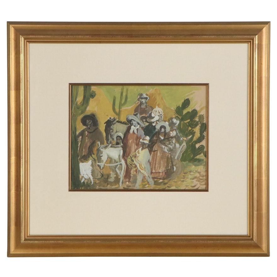 "Gustav Likan Gouache Painting ""Mexican Pilgrimage,"" 1955"