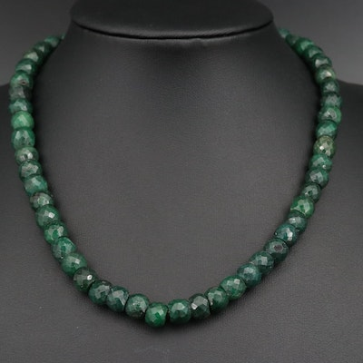 Sillimanite Beaded Necklace with 14K Clasp